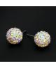 Krásná sada - ocelové náušnice, řetízek a přívěsek shamballa kuličky chirurgická ocel - crystal AB