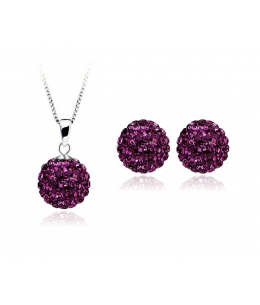 Krásná fialová sada - ocelové náušnice, řetízek a přívěsek shamballa kuličky chirurgická ocel - deep purple