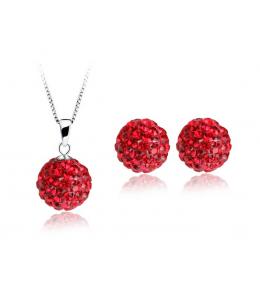 Krásná červená sada - ocelové náušnice, řetízek a přívěsek shamballa kuličky chirurgická ocel - red