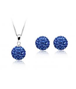 Krásná modrá sada - ocelové náušnice, řetízek a přívěsek shamballa kuličky chirurgická ocel - navy blue