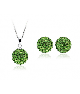 Krásná světle zelená sada - ocelové náušnice, řetízek a přívěsek shamballa kuličky chirurgická ocel - light green