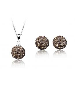Krásná šedá sada - ocelové náušnice, řetízek a přívěsek shamballa kuličky chirurgická ocel - black diamond