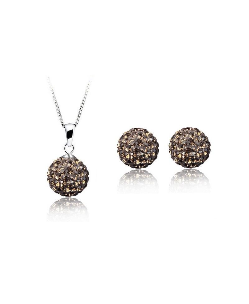 0760645d5 Krásná šedá sada - ocelové náušnice, řetízek a přívěsek shamballa kuličky chirurgická  ocel - black diamond