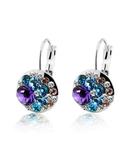 Nádherné visací náušnice Round Crystals s krystaly - fialovo-modré