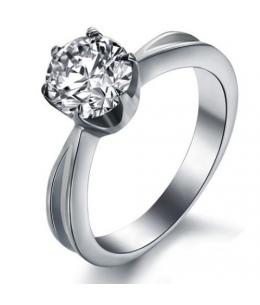 Ocelový dámský prsten se zirkonem uprostřed z chirurgické oceli 316L