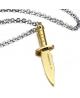 Stylový pánský ocelový náhrdelník - řetízek a přívěsek - tvar zlatá dýka