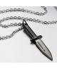 Stylový pánský ocelový náhrdelník - řetízek a přívěsek - tvar černá dýka - černá ocel
