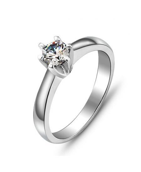 Krásný ocelový prsten se zirkonem z chirurgické oceli (316L)