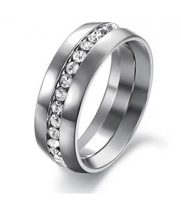 Luxusní ocelový Unisex prsten s čirými zirkony z chirurgické oceli (316L)