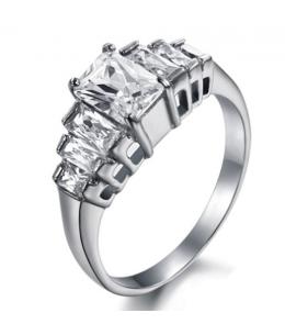 Luxusní ocelový dámský prsten s čirými zirkony ve tvaru obdélníku z chirurgické oceli (316L)