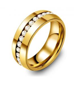 Luxusní ocelový dámský prsten s čirými zirkony z chirurgické oceli (316L) - zlatý