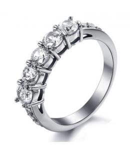 Luxusní ocelový dámský prsten s čirými zirkony z chirurgické oceli (316L)