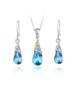 Rhodiovaná elegantní sada šperků Drop s krystaly Swarovski Elements