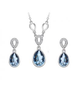 Rhodiovaná elegantní sada šperků Drops s krystaly Swarovski Elements