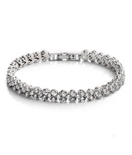 Luxusní rhodiovaný náramek Princess Diamonds se zirkony 185mm