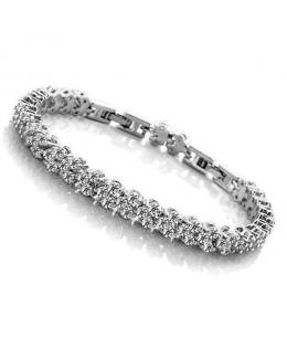 Luxusní rhodiovaný náramek Princess Diamonds se zirkony 165mm
