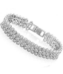 Luxusní rhodiovaný náramek Princess Diamonds se zirkony 175mm