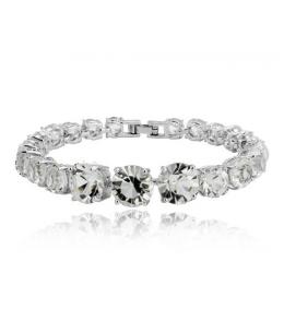 Luxusní rhodiovaný náramek Princess Diamonds se zirkony 170mm