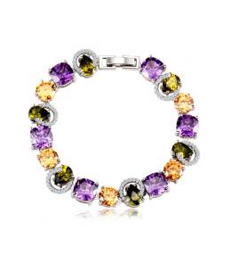 Luxusní rhodiovaný náramek Diamonds s barevnými zirkony s imitací diamantu