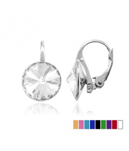 Stříbrné náušnice Rivoli s krystaly SWAROVSKI elements z pravého stříbra 925/1000 - 10mm