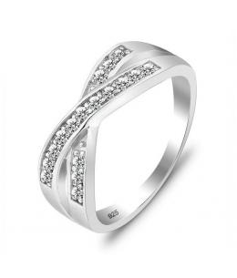 Luxusní stříbrný prsten ve tvaru kříže se zirkony z pravého stříbra (925/1000)