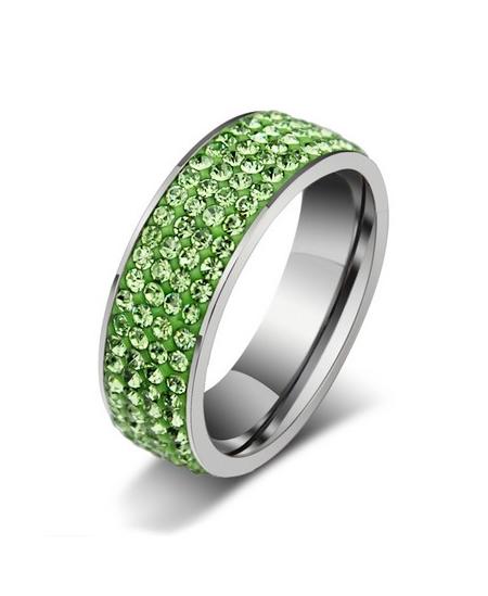 Luxusní ocelový prsten Crystal Pavé se zelenými krystaly z chirurgické oceli (316L)