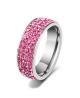 Luxusní ocelový prsten Crystal Pavé s růžovými krystaly z chirurgické oceli (316L)