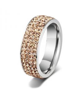 Luxusní ocelový prsten Crystal Pavé s šampaňskými krystaly z chirurgické oceli (316L)