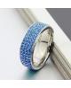 Luxusní ocelový prsten Crystal Pavé se světle modrými krystaly z chirurgické oceli (316L)