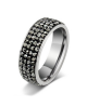 Luxusní ocelový prsten Crystal Pavé s hematitovými krystaly z chirurgické oceli (316L)