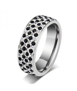 Luxusní ocelový prsten Crystal Pavé s černo-bílými krystaly z chirurgické oceli (316L)