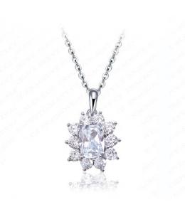 Luxusní rhodiovaný náhrdelník - řetízek a přívěsek Floral ve tvaru květiny se zirkony
