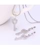 Rhodiovaný set - náušnice, řetízek a přívěsek Love Key ve tvaru klíče se zirkony