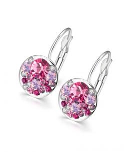 Nádherné visací náušnice Round Crystals s rakouskými krystaly - růžové