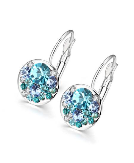 Nádherné visací náušnice Round Crystals s rakouskými krystaly - azurově-modré