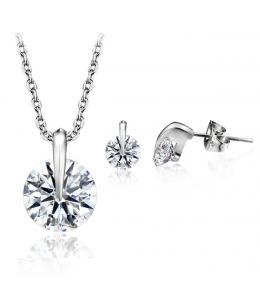 Elegantní set šperků Zirconia - přívěsek s řetízkem a náušnice se zirkony