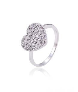 Rhodiovaný prsten Heart Pavé ve tvaru srdce se zirkony