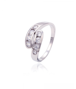Rhodiovaný prsten Open Swirl se zirkony
