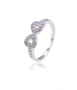 Rhodiovaný prsten Infinity ve tvaru nekonečna se zirkony