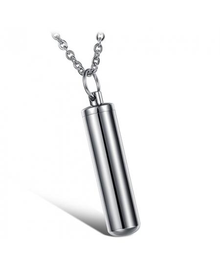 Stylový pánský ocelový náhrdelník - řetízek a přívěsek ve tvaru uzavíratelného oválného pouzdra (láhev)