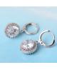 Rhodiované visací třpytivé naušnice Diamond Rounds se zirkony