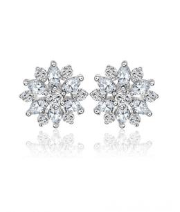 Luxusní naušnice pecky Princess Diamonds ve tvaru květiny se zirkony