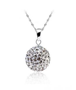 Stříbrný přívěsek ve tvaru kuličky se zirkonovými krystalky z pravého stříbra (925/1000)