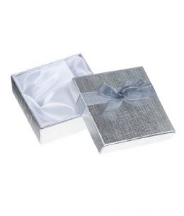 Dárková krabička na náramek - stříbrná lesklá s mašličkou