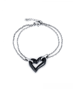 Ocelový keramický náramek ve tvaru srdce - chirurgická ocel 316L