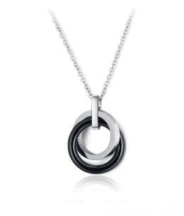 Ocelový keramický náhrdelník - řetízek a přívěsek ve tvaru propojeného dvojitého kruhu Round Weave - chirurgická ocel 316L