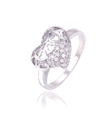 Rhodiovaný prsten Big Heart ve tvaru srdce se zirkony