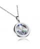 Elegantní dámský ocelový náhrdelník - řetízek a přívěsek ve tvaru kulatého talismanu s krystaly