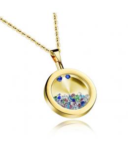 Elegantní dámský pozlacený ocelový náhrdelník - řetízek a přívěsek ve tvaru kulatého talismanu s krystaly