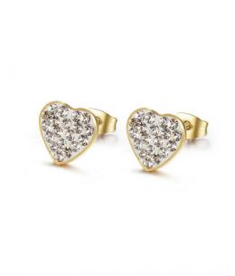 Ocelové pozlacené náušnice pecky ve tvaru srdce s krystaly (chirurgická ocel 316L)